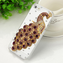 Champagne/Rose/Purple/Blue High-quality diamond peacock Clear plastic phone protection shell Case for iphone 4/4S Free Shipping