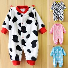 Spring Autumn Newborn Baby Clothes Flannel Infant Boy Clothes Cheap Cartoon Animal Jumpsuits Baby Girls Rompers Baby Clothing