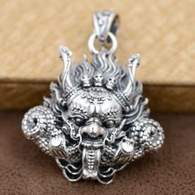 Thai Silver 925 Sterling Silver Pendant Antique Style Dragon Head With Skulls Mahakala Personality Punk Mens Accessories 2016