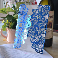 Paper crafts wedding decoration party supplies,royal blue laser cut wedding invitations 2016