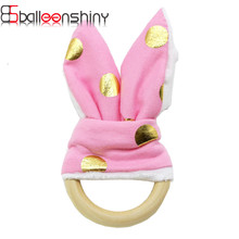 Baby Hand Puppet Eco-Friendly Wooden Ring Toy Lovely Dolls Plush Teether Bunny Ear Children brinquedo Teething Gift Educational