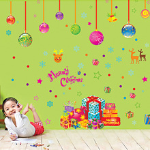 Christmas festival wall stickers home store window party decor hanging balls decals Xmas new year vinyl wallpaper(China)