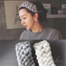 Retail women headband hand colored woven coarse wire headband hair band Korean version knitting wool winter models 8 colors