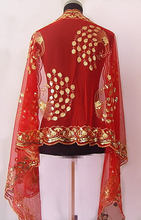 Hot SELL Gorgeous Paillette Women's Silk Sequin peafowl Shawl/Scarf Wrap Red