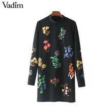 Vadim warm vintage floral pattern dress stand collar long sleeve straight female autumn retro mini dresses vestido QZ3271(China)