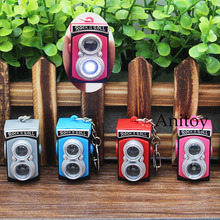 Cute Camera LED Keychain with Sound and Light PVC Key Ring Pendant Chaveiro Gift 4cm AK0064