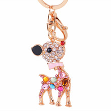 2 Colors for Choose Cute Rhinestone Deer Key Chain Bag Hang for Women 50g/pc Big Animal Car Hang Fashion Jewelry New Year Gift