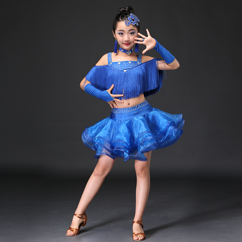 Tassel Ballroom Dancing Dresses Skirt Kids Fringe Children Professional Latin Dance Dress for Girls Salsa Cha Cha Samba Tango