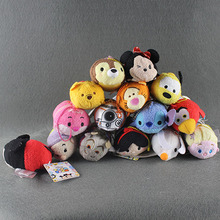 15pcs Tsum Tsum Plush Toys Mickey Minnie Mouse Elsa Winnie Pluto Plush Pendant Screen Cleaner Dolls