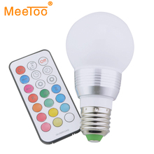RGB LED Lamp E27 7W LED Spot Light With Timer Switch Remote Controller 16 Colors Change Lampada LED Party Colorful Lights 1PCS(China)