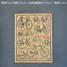 Large Retro bicycle Linen Cloth Painting Scrolls Poster Mural Paintings Banners Hanging Art Office Loft Ornament Wall