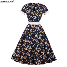 HimanJie Women PlusSize S~4XL Cotton Small daisy print Vintage Floral Dress 60s Retro Rockabilly Swing Elegant Feminino Vestidos(China)