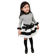 Spring Autumn Girls Dress Casual Turtleneck Long Sleeve Childrens Princess Dress Striped Spliced 3 4 5 6 7 8 9 Year Kids Clothes(China)