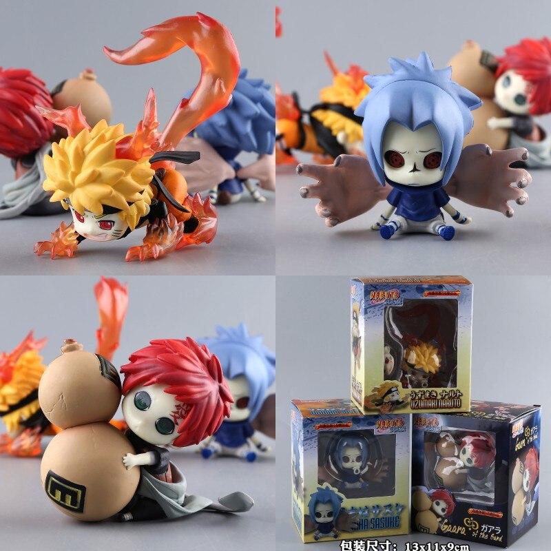 3PCS/SET Naruto Figure Ninja Uzumaki Naruto Uchiha Sasuke Gaara 6cm Q Ver PVC Action Figure Toy Collection Model Gift QQ011<br>