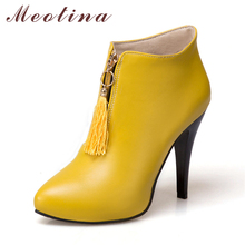 Meotina Winter Women Ankle Boots Platform High Heels Fringe Boots Pointed Toe Sexy Shoes Autumn Female Boot Plus Size 46 Yellow