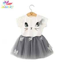 Belababy Girls Clothing Sets New Summer Fashion Style Cartoon Kitten Printed T-Shirts+Net Veil Dress 2Pcs Girls Clothes Sets(China)