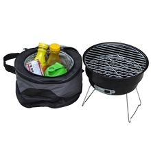 2016 New Stainless steel outdoor household couple barbecue brazier charcoal portable mini bbq grill with shoulder cooler bags