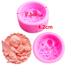 S004 Angel Rose 3d Silicone Mold Soap Soap Mold Candle Making Chocolate Decorated Cake Baking Tools Kitchen Accessorie 9.3*4.2cm