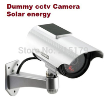 Solar energy Fake Dummy cctv Camera With Bliking LED IR Fake CCTV Camera Outdoor LED Lights dummy camera or warning sticker(China)