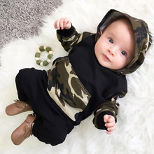 2017 New Spring Infant Clothing Set Baby Boys Camouflage Camo Hoodie Tops Long Pants 2Pcs Outfits Set Newborn Clothes