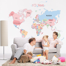 Child world map wall stickers for kids rooms living room home decorations pvc decal mural art diy school wall art(China)