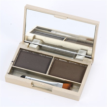 Hot Professional Kit 2 Color Eyebrow Powder Shadow Palette Enhancer with Ended Brushes(China)