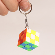 Magic Cube 3x3x3 Mini Cube Keychain  Stickerless Educational Decompression Cube Puzzle Toy for Children Gift