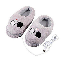 1 Pair USB Powered Cushion Shoes Electric Heat Slipper USB Gadget Cute Grey Piggy Plush USB Foot Warmer Shoes(China)