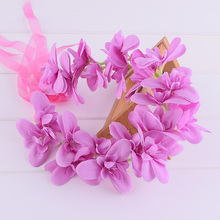 Wisteria Orchid Flower Crown Braided Headwrap Flower Crown Wedding Floral Crown Hair Wreath Headband Girl Festivals Woman(China)