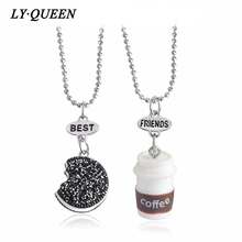 New Set Of Small Kawaii Cookie And Coffee Best Friend Necklace Miniature Food  Oreo  Resin Alloy Round Souvenir Gift Female