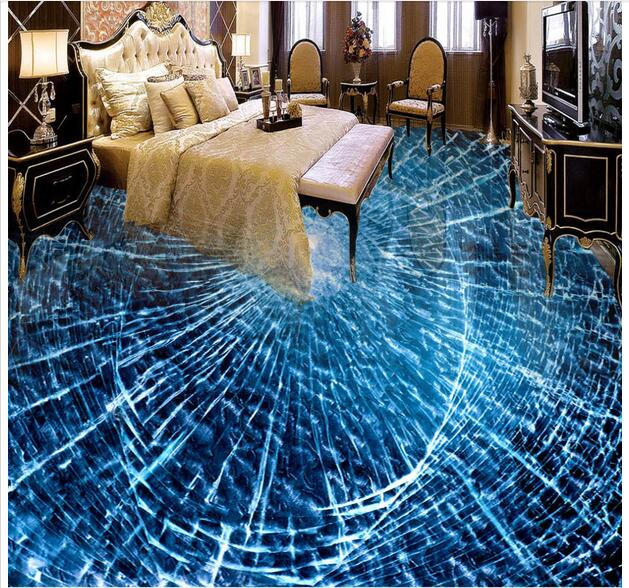 3d pvc flooring custom photo self-adhesion waterproof floor Broken glass  painting picture room wallpaper for walls 3d<br>
