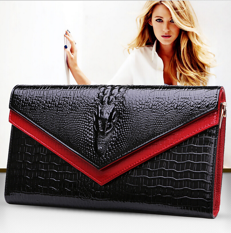 The new European and US style hot trumpet black diagonal cross - leather handbag women s trend crocodile pattern clutch TL6536<br>