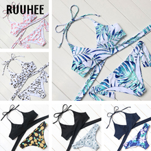 RUUHEE Brand Sexy Cross Swimwear Women Bikini Set Bandage Bathing Suit Push Up Bikini 2017 Hot Printed Cut Up Swimsuit Beachwear
