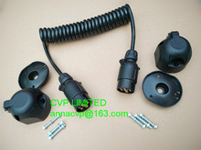 Towing trailer curly cable, spiral cable, coiled cable, 3m, 7 pin 12V plastic trailer plugs and 2 pieces sockets, trailer parts(Hong Kong)