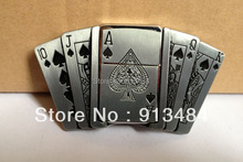 Playing card belt buckle with kerosene lighter with pewter finish JF-B133 brand new condition 5pcs/lot free shipping(China)