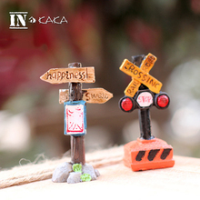 Cute Indicator Train station home Decor lawn sculpture Action Figures Toys DIY miniatures micro garden accessories ornaments