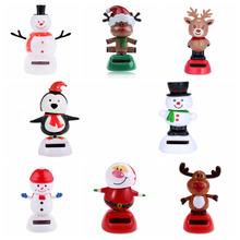1 Pcs Cute Solar Powered Dancing Swinging Bobble Doll Toy Car Christmas Home Decoration Car Accessories(China)