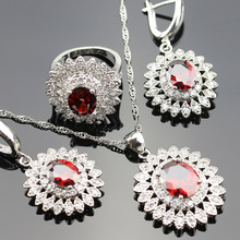 925 Logo Red Created Garnet Jewelry Set For Women Silver color Rings/Earrings/Necklace/Pendant  For wedding party