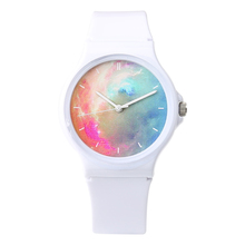 New Hot Simple Fashion Lovely Nice Girls Transparent Watch Candy Pink Blue Star Waterproof  Sports Jelly Watch For Women