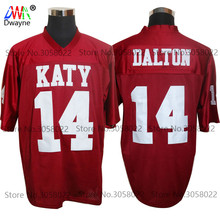 2017 Cheap American Football Jerseys Red Andy Dalton 14 Katy High School Throwback jerseys Retro Stitched Shirts(China)