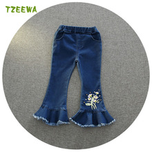 2017 Spring Girls Denim Pants Blue Toddler Girl Jeans Soft Kids Summer Trousers Infant Girls Pants Pantalon Garcon Girls Legging(China)