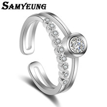 Samyeung Romantic Cubic Zirconia Rings Silver for Women Adjustable the Ring for Girl Alliance Femme My Orders Special Store Sale