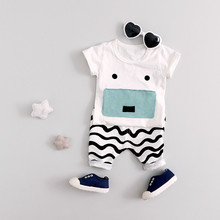 2017 New Baby Boys Summer Sets Character Pigr Pattern Tops+striped Pants Cotton Short Sleeve O-neck Kids Boys Set Clothing Cs069