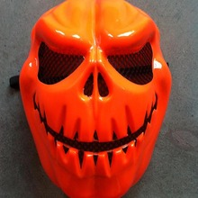 Orange Pumpkin Plastic Party Mask Fullface Scary Mask for Halloween Party Masquerade 2pcs