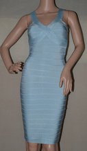 factory wholesale New Dress sky blue Stretch tight Celebrity Fashion leisure Boutique Cocktail party Bandage dress (H0882)