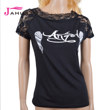 Womens Angel Wings Tshirt Fashion 2015 Print Floral Lace Hollow Out O-Neck Halter Crochet Top T-shirt