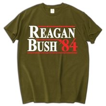 Reagan Bush campaign election 80s president republican blue collar freedom america retro vintage Mens T-shirt(China)