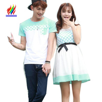 7934428087 Matching Couple Clothes Lovers Japan Korea Preppy Style Summer Cute Sweet  Dresses Girls Patchwork Hollow White