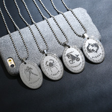 12 Constellation Jewelry Men Stainless Steel Twelve Zodiac Pendant Necklaces for Women Leo Gemini Libra Choker Best Friend Gift