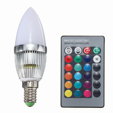 High Quality E14 3W RGB LED Color Changing Chandelier Candlestick Candle Light Bulb Lamp 85-265V With 24Key Remote Controller(China)